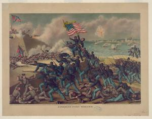 Storming Fort Wagner. Courtesy of the Library of Congress.